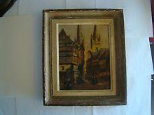 Scène animée d'une ville en Bretagne huile sur carton, à identifier   #1250#