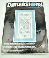 "Vintage DIMENSIONS Welcome Sampler Cross Stitch Kit 3656 10"" x 20"" 1988 Pastel"
