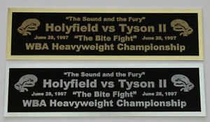 Mike Tyson Evander Holyfield nameplate for signed boxing gloves trunks photo