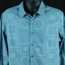 Guess Large Slim Fit Shirt Blue Flip Cuff Antique Pocket Square Print Clothing