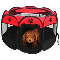 """45"""" 600D Oxford Portable Pet Puppy Soft Tent Playpen Dog Cat Folding Crate Red"""