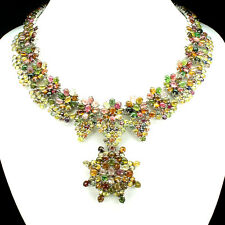 Big Rare Special Fancy Colors Sapphire & TOURMALINE 925 Sterling Silver Necklace
