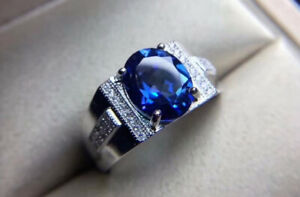 2.11 Ct Oval Sapphire 14K White Gold Luxurious Men's Engagement & Wedding Ring