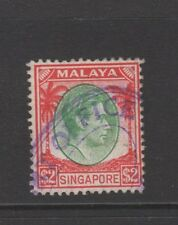 SINGAPORE GEORGE VI $2 GREEN & RED Nice Used