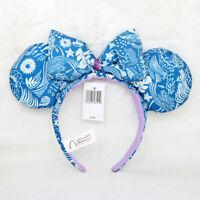 Disney Parks Blue Fabric Bow Mickey Minnie Mouse Sequin Ears Headband