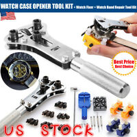 Watch Case Opener Watchmaker Screw Cover Remover Wristwatch Repair Tool Kit US