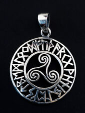 Solid Silver 925 0.2oz K100 25425 Pendant Celt Triskell Runes Norse Viking
