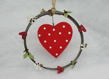 Mini Wreath Christmas Tree Decoration Red Polkadot Heart Holly Snow Rustic Style