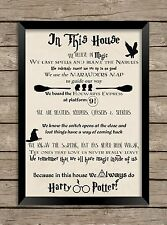 Harry Potter a4 PRINT our home house quote wall art saying picture
