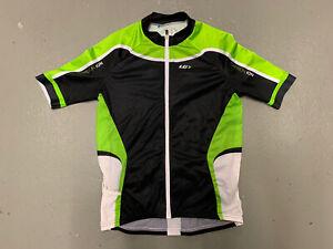 Louis Garneau Cycling Jersey Women XL Black Green Short Sleeve Full Zip