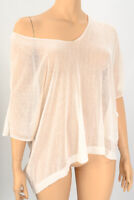Carina Ricci Off White Sheer Knitted Oversized Top One Size