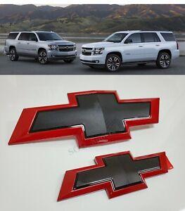 Black Red Edge Front Rear Bowtie Emblems Fit 2015-2020 Chevrolet Tahoe Suburban
