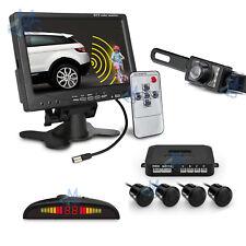 """Sensori Parcheggio da 4 Monitor 7"""" Telecamera Posteriore Kit Retromarcia Auto"""