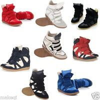 Annakestle Womens New Hot Strap High-TOP Sneakers Shoes/Ladys Ankle Wedge Boots
