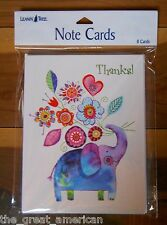 8 Leanin Tree Note Cards Thanks! Elephant Holding Flowers Lori Siebert Made USA