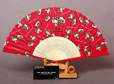 SETA GIAPPONESE HELLO KITTY CAT & airou HAND FAN ROSSO LUCIDO scheletro Collection