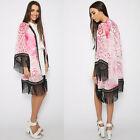 Boho Floreado Con Flecos Chifón Chaqueta Kimono Camisa Blusa Suéter Rosa Largo