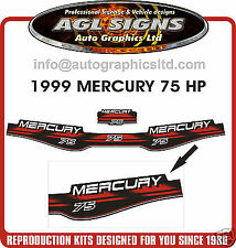 1999 MERCURY  75 HP Outboard Decal Set  reproductions  90 hp