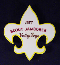 """RARE BOY SCOUT 1957 NATIONAL SCOUT JAMBOREE VALLEY FORGE CERAMIC 5""""X4.5"""" PLAQUE"""