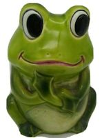 "Vintage Anthropomorphic FROG PLANTER w/ BIG EYES Made in Japan Vase 5 1/2"" Tall"