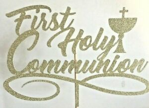 Cake Topper First Holy Communion Gold Glitter Various Other Colours