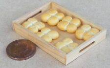 1:12 Scale Loose Bread Rolls In 4's On Wooden Tray Dolls House Bakery Accessory
