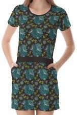 Dandelions Flowers Women Round Neck Splicing With Pockets Dress b7 acc00664