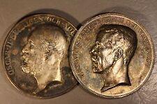 Sweden ND Gustaf V & Oscar II Silver Horse Breeding Medals  *Free U.S. Shipping*