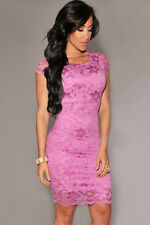 WOMENS PINK LACE DRESS BODYCON EVENING BANDAGE WIGGLE CELEB SIZE 10 & 12