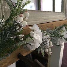 1.8m Snowy Fir Berry White Hydrangea Christmas Garland Christmas Gisela Graham