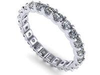 0.85Ct Round Cut Diamond Shared U-Prong Eternity Band Ring 14k White Gold I SI2