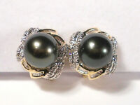 Tahitian black pearl earrings,diamonds,solid 14k yellow gold