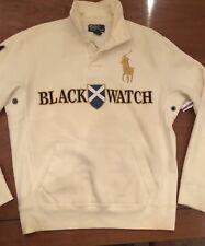Polo Ralph Lauren White BlackWatch Big Pony #1 Mens Button Neck Sweatshirt Large