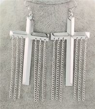 Charm Tassels Chains Ear Hook Dangle New Tibet Silver Plated Holy Cross Earrings
