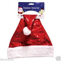ADULT DELUXE SEQUIN FATHER CHRISTMAS XMAS PARTY SANTA FANCY DRESS COSTUME HAT