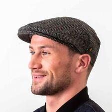 Irish Tweed Cap - Donegal Tweed - Charcoal Grey Herringbone - Driving Hat