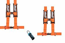 "PRP 4 Point Harness 3"" Seat Belt PAIR ORANGE Bypass Polaris RZR Can Am UTV All"