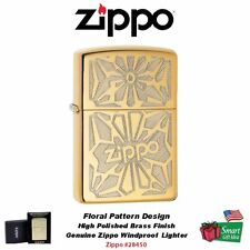 Zippo High Polished Brass LIghter With Design, Classic, Windproof #28450