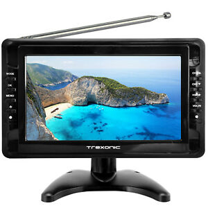"""Trexonic Ultra Lightweight Rechargeable Widescreen 9"""" Portable LCD TV with SD,"""