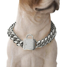 Cool Solid Stainless Steel Curb Chain Pet Dog Choker Collar Dobermann Pit Bull