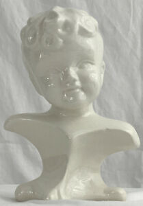 VINTAGE 1950s BUST Head STUDIO LA Woman Girl White Porcelain 7 in Small Statue