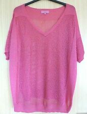 Next Ladies Top Blouse 20 Pink Party Evening Going Out Mesh 80's See through nf