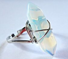 OPALITE RING pointed hex crystal quartz wire-wrapped adjusts from 7.5 to 9.5  6B