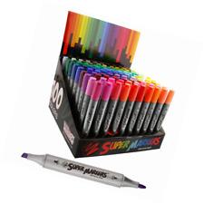 Super Markers Twin-Tip Broad-Liner Marker Set-100 Unique Colors-No Duplicates-Bo