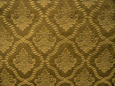Retro vintage upholstery tapestry brocade fabric gold tone on tone 3 yards NOS