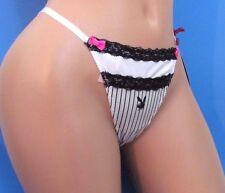 PLAYBOY White Black Striped Bunny Sexy Sissy thong bikini panties Sz L