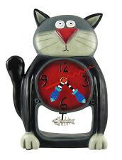 Allen Designs Black Kitty Cat Pendulum Wall Clock