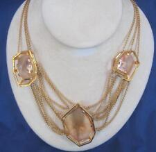 "Alexis Bittar Miss Havisham Modern Georgian Necklace Gold Tone 3 Crystals 17""+3"""