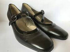Equity Symphony  Court Shoe Brown Leather Tab Detail EE Fitting Low Heel