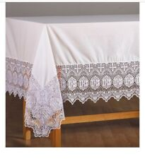 """Church Chapel 9"""" Lace Drop IHS Lace Altar Frontal 46"""" W - 92"""" L"""